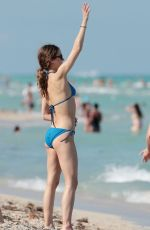 KERI RUSSELL in Blue Bikini on the Beach in Miami