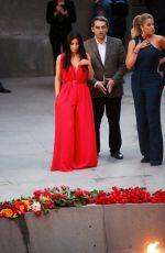 KIM and KHLOE KARDASHIAN at Armenian Genocide Memorial at Tsitsernakaberd in Yerevan