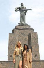 KIM and KHLOE KARDASHIAN at The Cascade in Yerevan