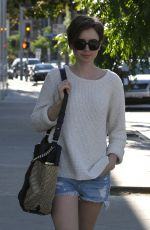 LILY COLLINS in Cut-offs Out and About in West Hollywood
