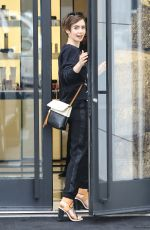 LILY COLLINS Out Shopping in Beverly Hills 04/24/2015