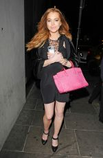 LINDSAY LOHAN Arrives at Bonbonniere Nightclub in Marylebone