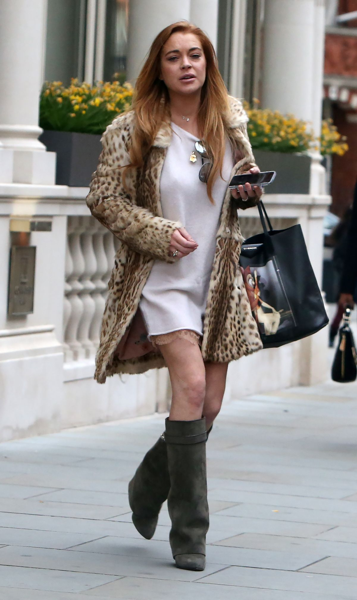 LINDSAY LOHAN Leaves The Conaught Hotel in London