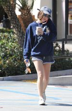 LUCY HALE in Shorts Out for Coffee in West Hollywood