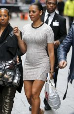 MELANIE BROWN in Tight Mini Dress Shopping at H&M in New York