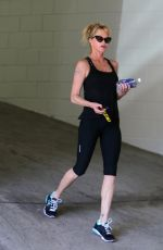 MELANIE GRIFFITH in Tights Leaves a Gym in Los Angeles 04/27/2015