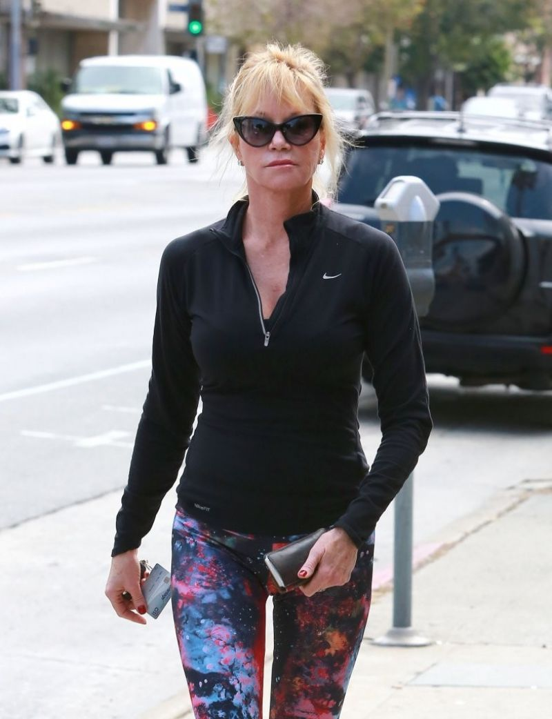 MELANIE GRIFFITH in Tights Out in Los Angeles 04/23/2015