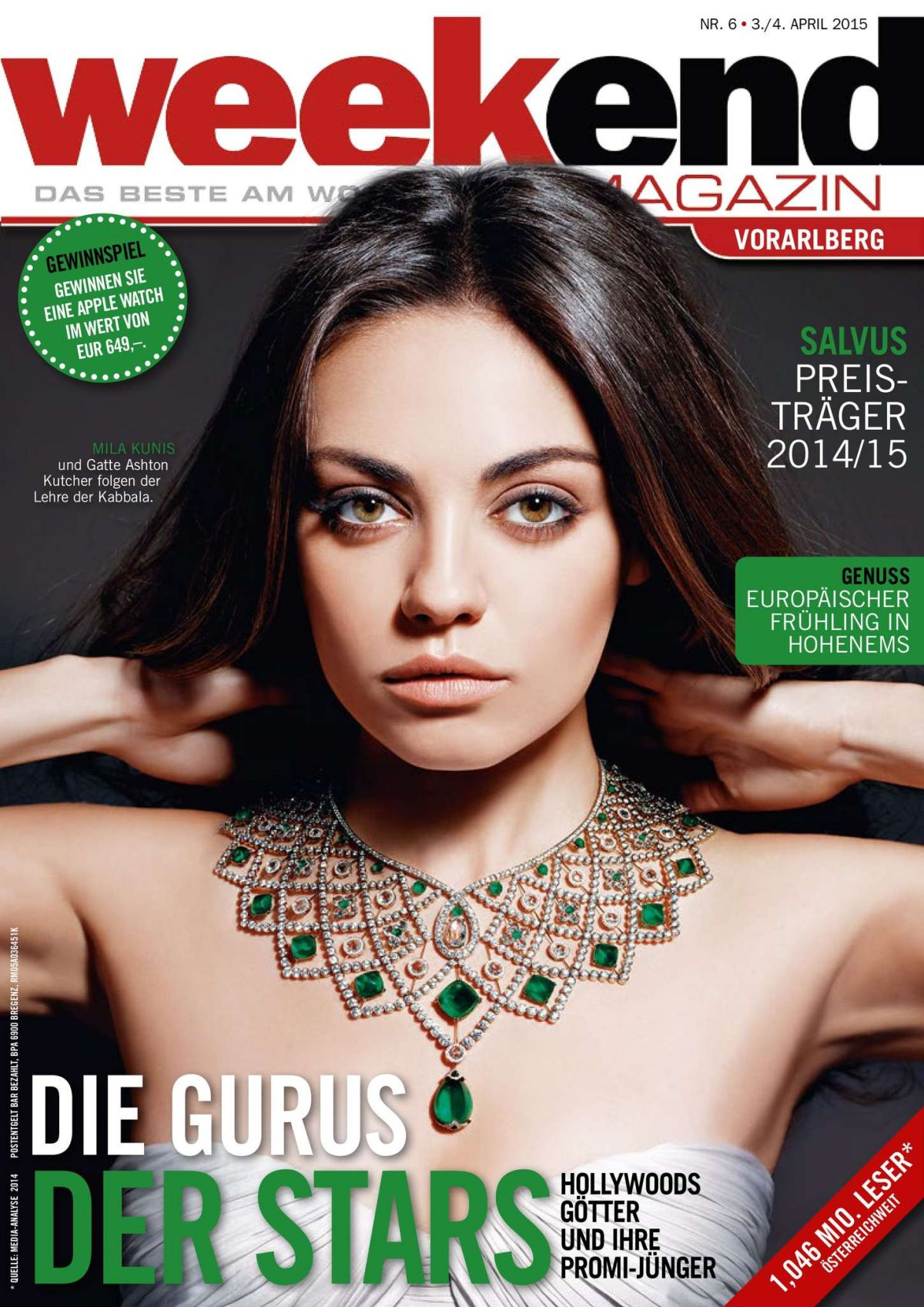 MILA KUNIS on the Cover of Weekend Magazine, April 2015 Issue
