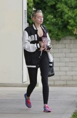 MILEY CYRUS Stopping for a Juice at Robeks in Los Angeles