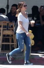 MINKA KELLY in Ripped Jeans Out for Lunch in West Hollywood