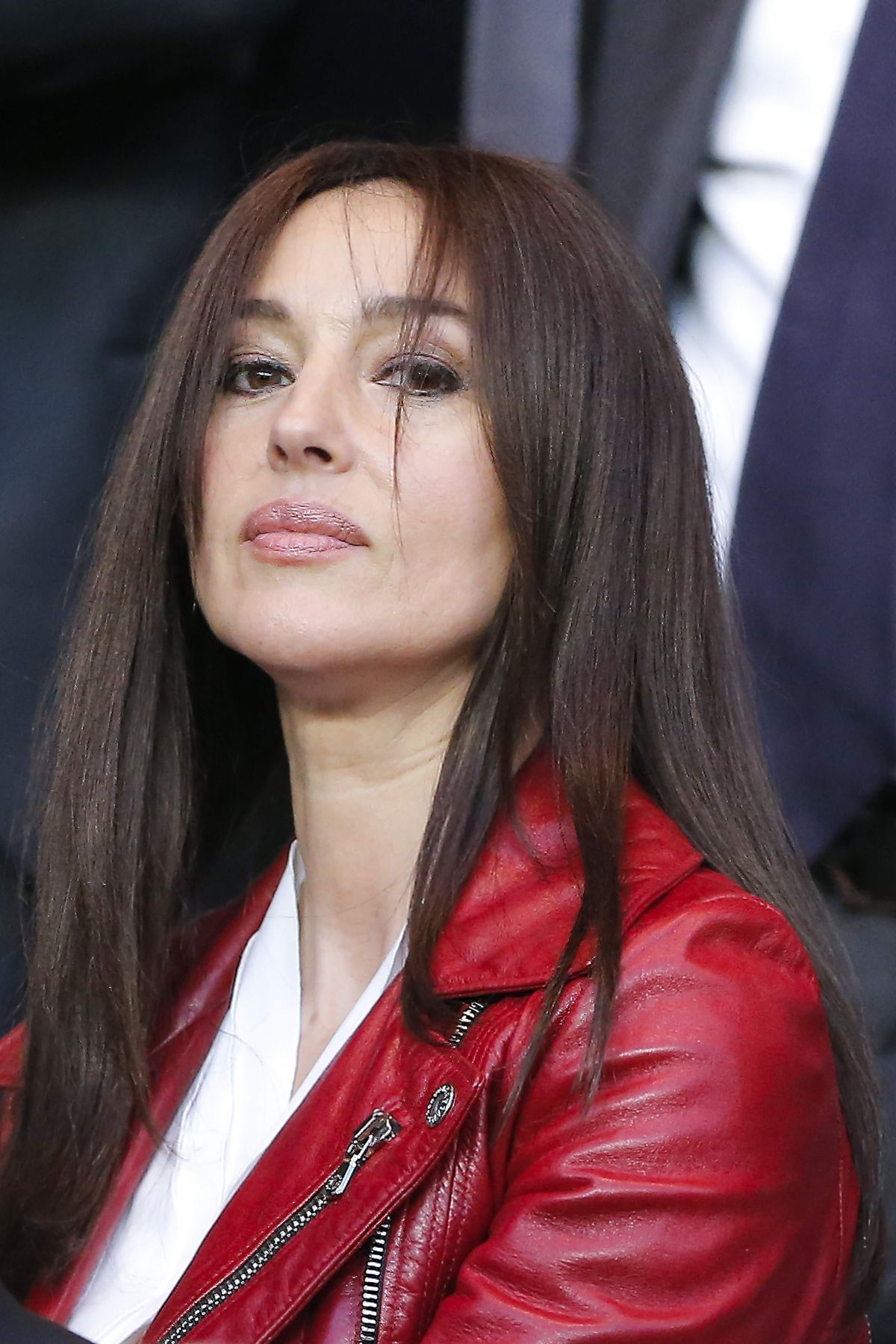 MONICA BELLUCCI at Paris SG vs FC Barcelona Game at Parc Des Princes ... Monica Bellucci
