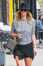NICKY HILTON in Short Skirt Out and About in New York
