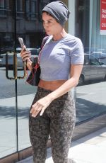 NICOLE MURPHY in Crop Top and Leggings Out and About in Beverly Hills