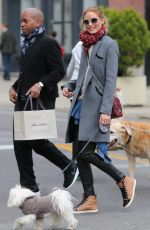 OLIVIA PALERMO Walks Her Dog Out in Soho 04/26/2015