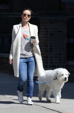 OLIVIA WILDE Walks Her Dog Out in New York