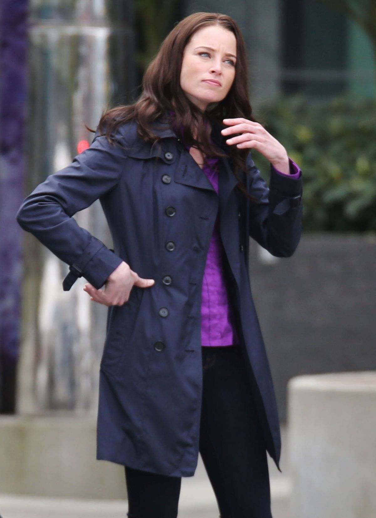 RACHEL NICOLS on the Set of Continuum in Vancouver 04/21/2015