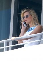 REESE WITHERSPOON at a Hotel Balcony in Miami 04/20/2015