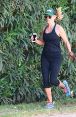 REESE WITHERSPOON with Her Dog Out Jogging in Brentwood