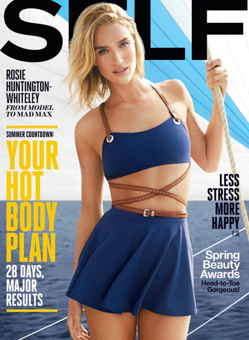 ROSIE HUNTINGTON-WHITELEY on the Cover of Self Magazine, May 2015 Issue