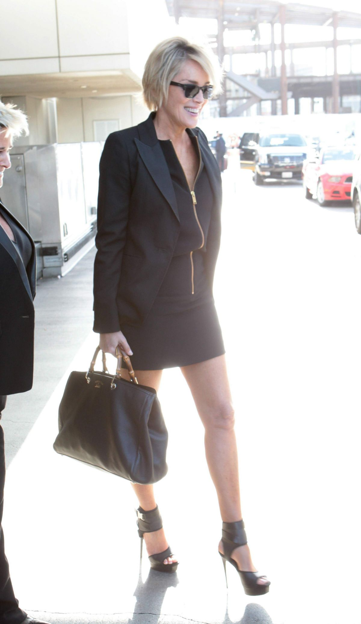 SHARON STONE at Los Angeles International Airport