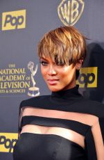 TYRA BANKS at 2015 Daytime Emmy Awards in Burbank