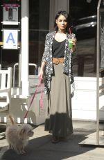 VANESSA HUDGENS Walks Her Dog Out in Soho