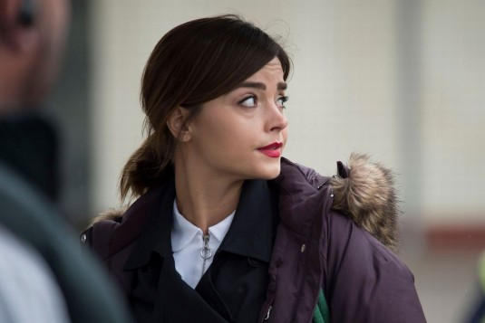 JENNA-LOUSIE COLEMAN on the Set of Doctor Who in Cardiff
