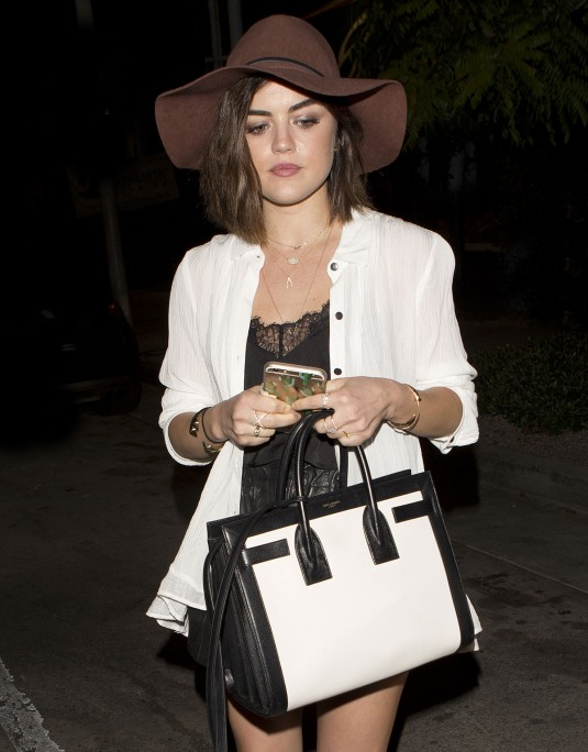 LUCY HALE Leaves Gracias Madre in West Hollywood