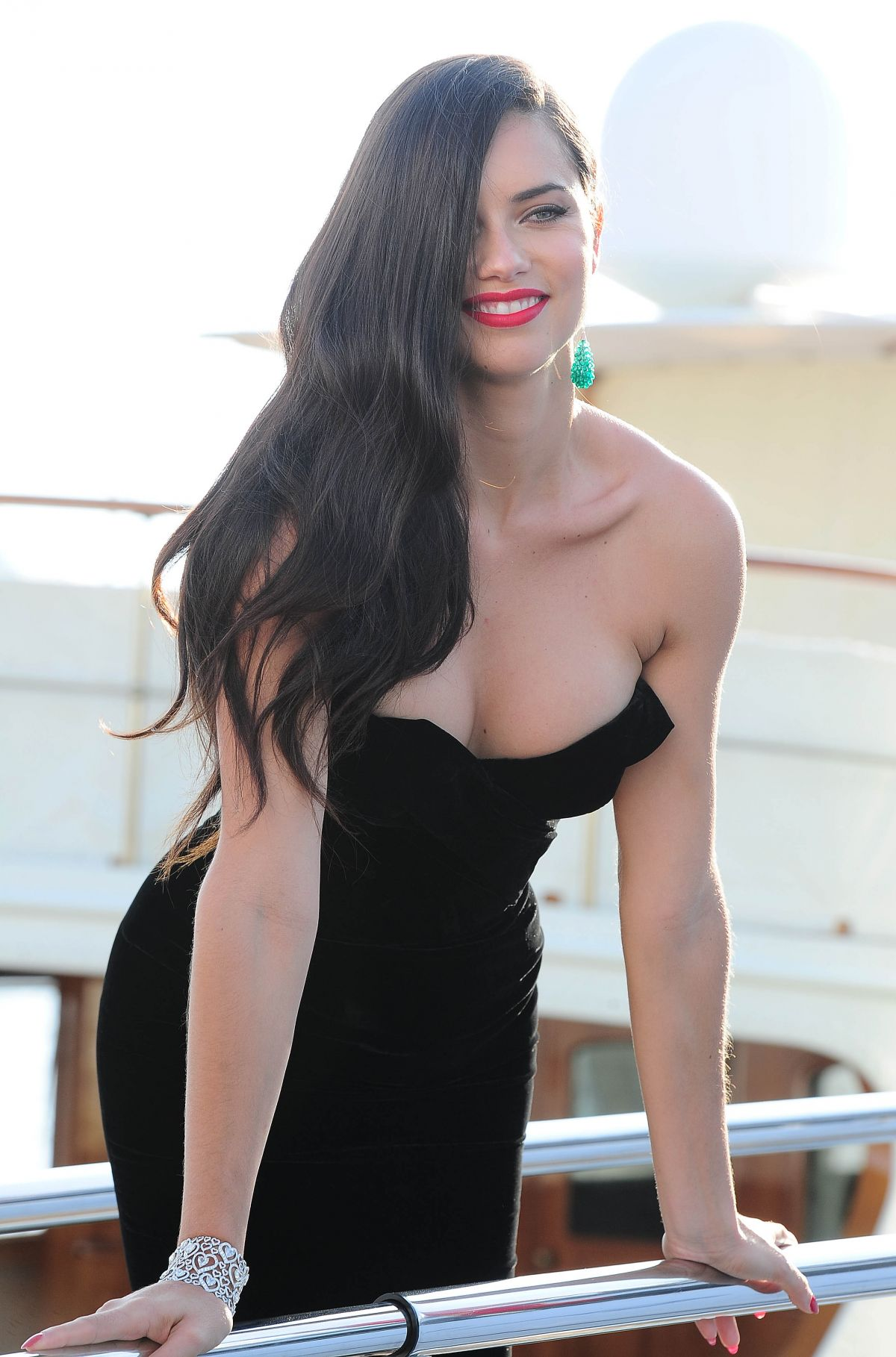 ADRIANA LIMA Boards at a Yacht in Cannes
