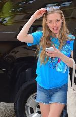 AMANDA SEYFRIED in Jeans Shorts Arriving at Her Hotel in New York 05/04/2015