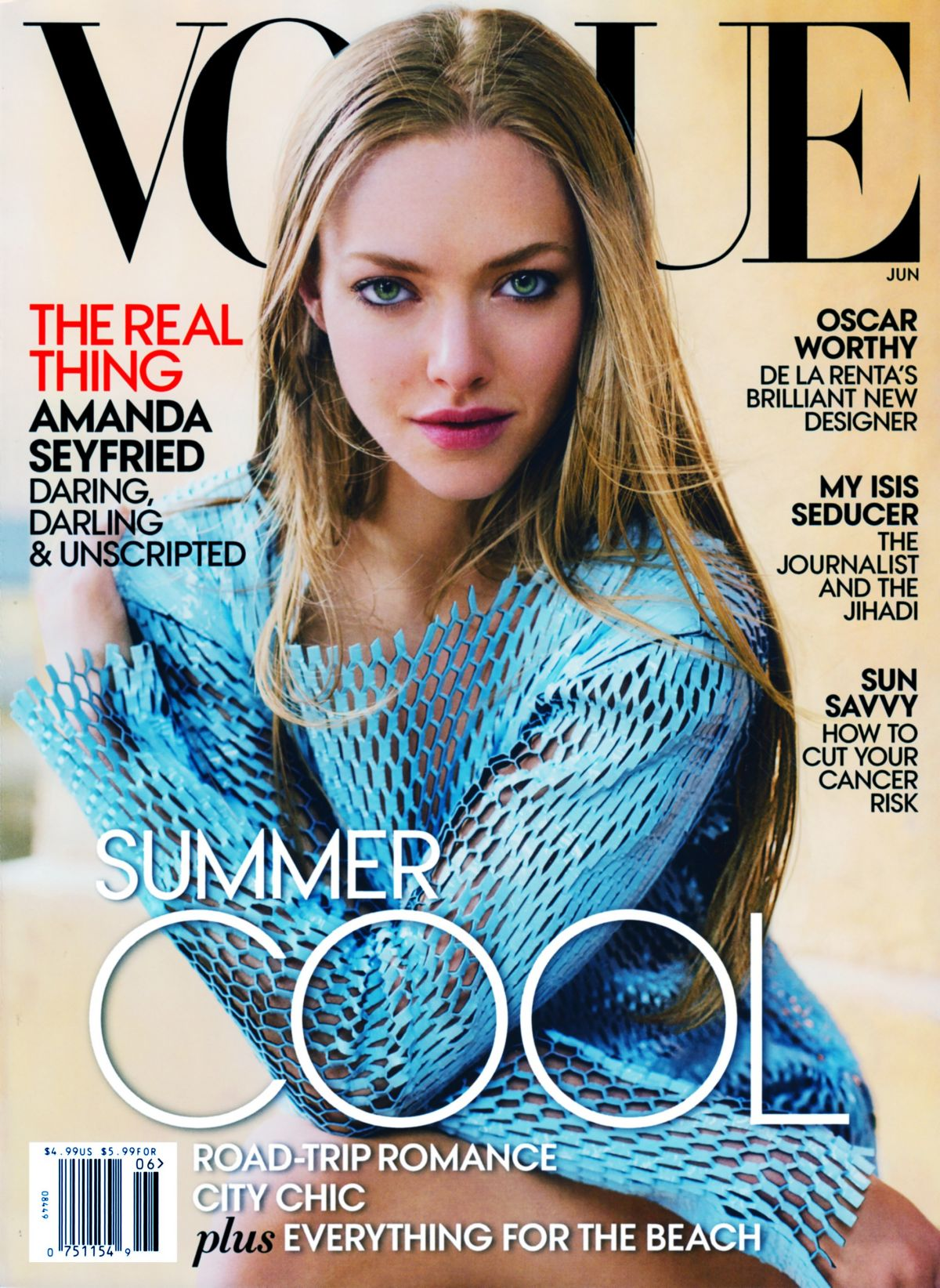 AMANDA SEYFRIED on the Cover of Vogue Magazine, June 2015 Issue