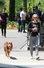 AMANDA SEYFRIED Out for a Walk with Her Dog Finn in New York 05/23/2015