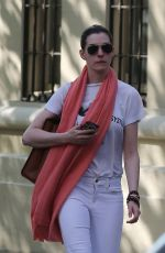 ANNE HATHAWAY heading to a Theatre in New York 05/07/2015
