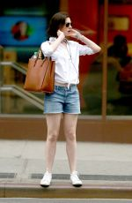 ANNE HATHAWAY in Jeans Shorts Out in New York 05/05/2015