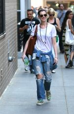 ANNE HATHAWAY in Ripped Jeans Out and About in Manhattan 05/08/2015