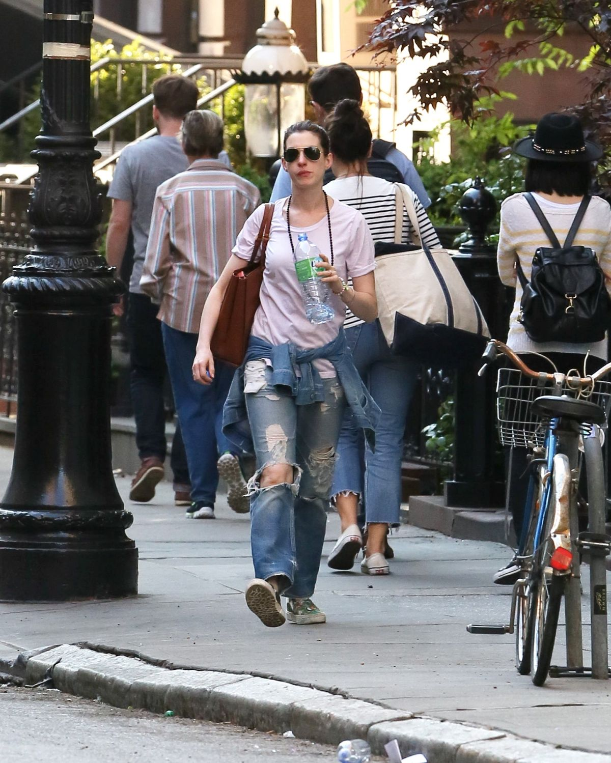 ANNE HATHAWAY In Ripped Jeans Out And About In Manhattan