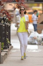 ANNE HATHAWAY Out for Morning Coffee Run in New York 05/03/2015