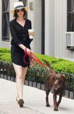 ANNE HATHAWAY Walks Her Dog Out in New York 05/17/2015