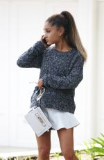 ARIANA GRANDE on the Phone Out in Los Angeles 05/12/2015