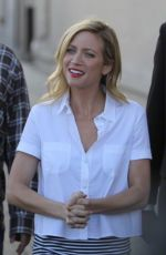 BRITTANY SNOW Arrives at Jimmy Kimmel Live in Hollywood 05/04/2015