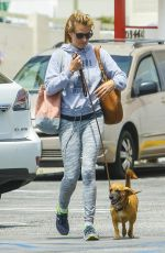 CAT DEELEY Walks Her Dog Out in Beverly Hills 05/26/2015