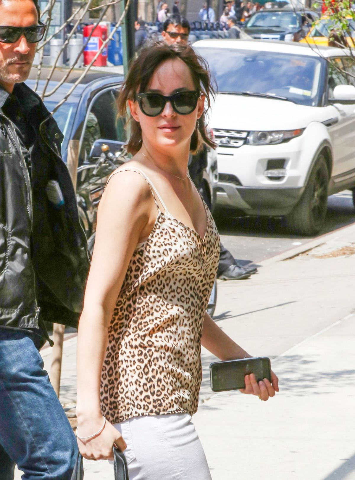 DAKOTA JOHNSON Arrives at How to be Single Set in New York