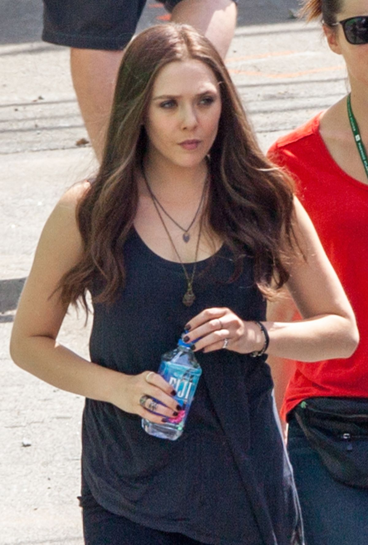 ELIZABETH OLSEN on the Set of Captain America: Civil War in Atlanta
