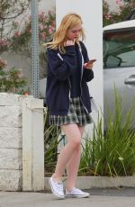 ELLE FANNING in Plaid Skirt Out and About in Studio City