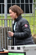 EMILIA CLARKE on the Set of Me Before You in Wales 05/18/2015