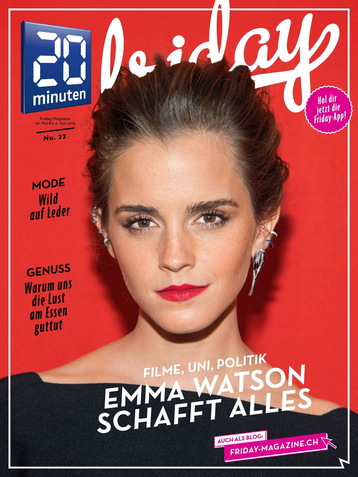 EMMA WATSON on the Cover of 20 Minuten, May/June 2015 Issue