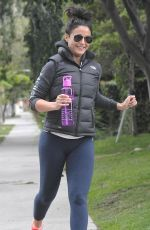 EMMANUELLE SHRIQUI in Tights Out Jogging in Los Angeles 05/18/2015