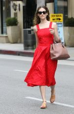 EMMY ROSSUM in Red Dress Out in Beverly Hills 05/06/2015