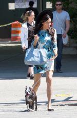 FAMKE JANSSEN Walks Her Dog Out in New York 05/07/2015