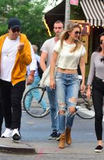 GIGI HADID in Ripped Jeans Out in New York 05/27/2015